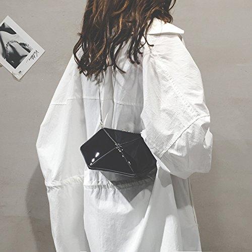 Mujer Hombro Bolso Aiurbag Forma Poliéster Piel Con Blue De Concha Crossbody black q1wExwt