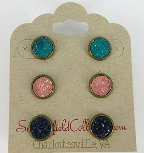 Rose Gold-tone Blue Green Faux Druzy Stone Stud Earrings 8mm
