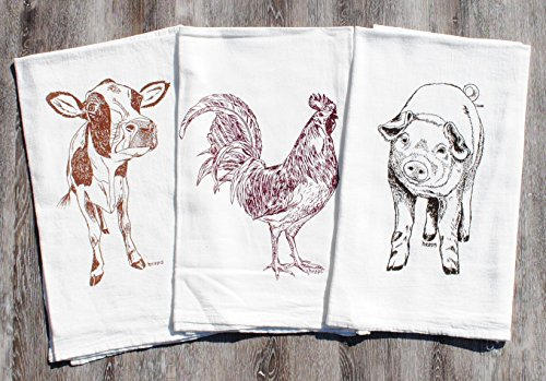 Kitchen Tea Towels Set of 3 - 100% Cotton Flour Sack - 26'' x 25'' - Hand Printed Cow Rooster Pig by Heaps Handworks