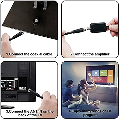 Antena TNT exterior para televisión exterior e interior 160 km recepción, cable coaxial de 10 m, revestimiento anti-UV, impermeable y de diseño ...