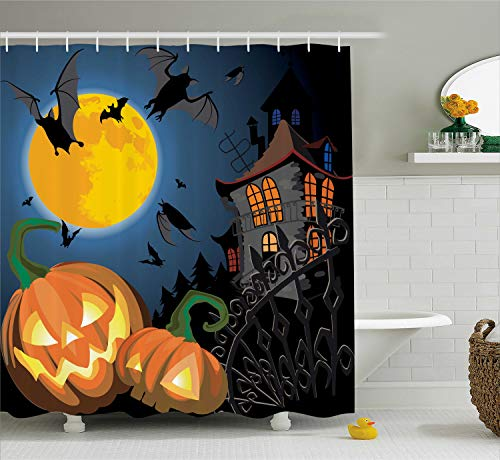 (Ambesonne Halloween Shower Curtain, Gothic Halloween Haunted House Party Theme Design Trick or Treat Motifs Print, Cloth Fabric Bathroom Decor Set with Hooks, 70 Inches,)