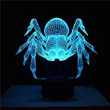 wsloftyGYd Multicolor Halloween Spider Acrylic Visual LED Night Light Table Lamp Kids Gift Black Base