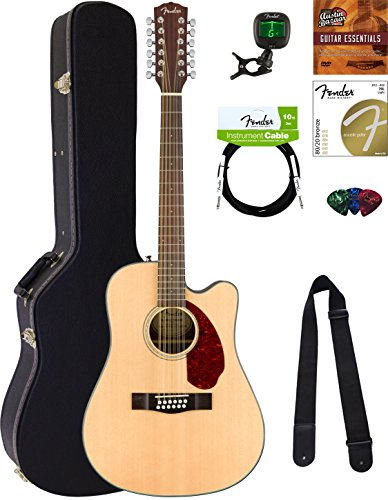 Fender CD-140SCE-12 Dreadnought Acoustic-Electric Guitar - 12 String, Natural Bundle with Hard Case, Cable, Tuner, Strap, Strings, Picks, Austin Bazaar Instructional DVD, and Polishing (12 String Tuners)