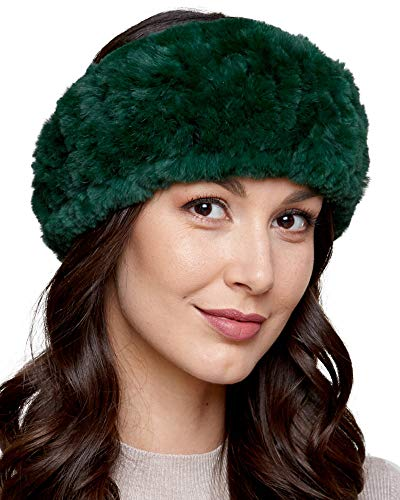 Rex Rabbit Headband Fur - Knit Rex Rabbit Fur Headband in Emerald