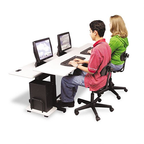 Inch Split-Level Computer Training Table, Steel Base, Box 1 (Split Level Computer Training Table)