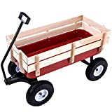 Superworthboutique Outdoor Wood Wagon Garden Cart Children Railing All Terrain Pulling 330Lbs Capacity Red