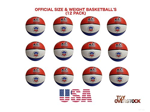 Jsport (Pack of 12) Official Size 7 Basketballs - Red/White/Blue Bulk ()