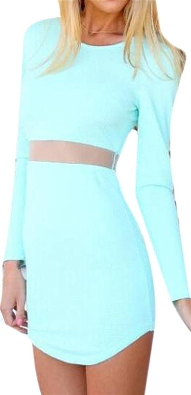 MLG Women Silm Sexy Yarn Splicing Midriff Package Hip Mini Dress