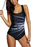 V FOR CITY Womens Slimming One Piece Swimsuits Boyleg Sports Swimwear Bathing Suit Purple M