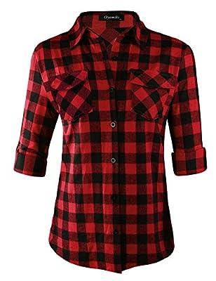 Oyamiki Womens Casual Cuffed Long Sleeve Boyfriend Button Down Plaid Flannel Shirt Tops