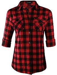 Womens Casual Cuffed Long Sleeve Boyfriend Button Down Plaid Flannel Shirt Tops