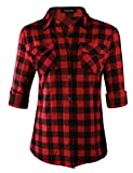 Oyamiki Women's Casual Long Sleeve Button Down Collared Loose Plaid Flannel Shirts Red/S
