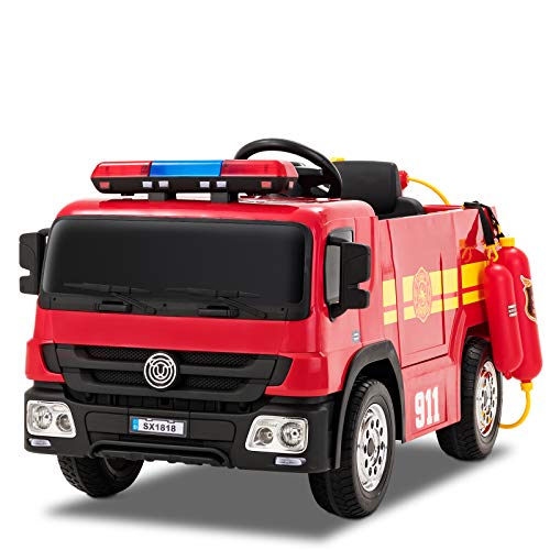 Uenjoy 12V Fire Truck Ride on Cars Electric Kids Car Battery Powered Vehicles Motorized Truck, Remote Control, Lights& Alarms, Music, Spring Suspension, Large Volume Battery, SX1818 -