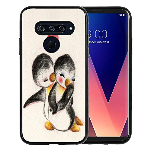 LG V30 Case, LG V35 ThinQ Case, LG V30+ / V30 Plus/ V30S ThinQ Case, TPU Black Case for LG V30 / LG V35 ThinQ - Cute Penguin Couples I Love You