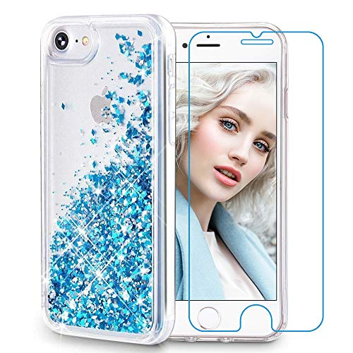 Maxdara iPhone 8 Case, iPhone 7 Glitter Liquid Women Case [Tempered Glass Screen Protector] Floating Bling Sparkle Luxury Pretty Protective Girls Case iPhone 6/6s/7/8 4.7 inch (Blue)