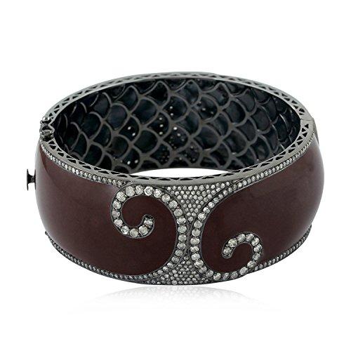 (Mettlle 18K White Gold Pave Diamond and Sterling Silver Bangle Designer Enamel Bracelet)
