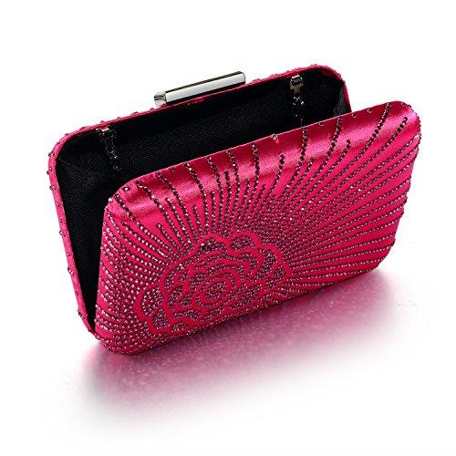 Box Hard Evening Clutch Bags Fuchsia Case Satin Silk Crystal Womens DMIX xt1Yf8wqf