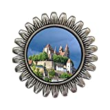 GiftJewelryShop Ancient Style Silver Plate Travel Black Forest Germany Sunflower Pins Brooch