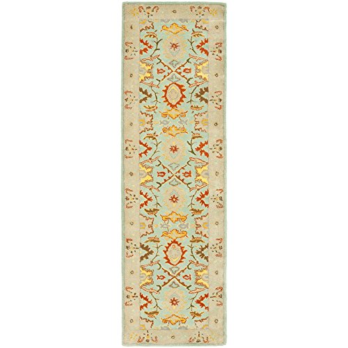 Safavieh Heritage Collection HG734A Handcrafted Traditional Oriental Light Blue and Ivory Wool Runner (2'6