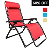Goldsun Comfortable Oversized XL Padded Zero Gravity Lounge Patio Chair Heavy duty reclining lounger Supports 350lbs(Red)