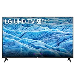 LG 55UM7300PUA 55″ 4K HDR Smart LED IPS TV w/AI ThinQ (2019) + Flat Wall Mount Ultimate Bundle + 2.4GHz Wireless Keyboard Smart Remote w/Touchpad + 6-Outlet Surge Adapter w/Night Light