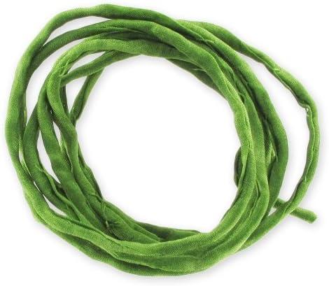 Perles /& Co Rolled silk cord Green x 110cm