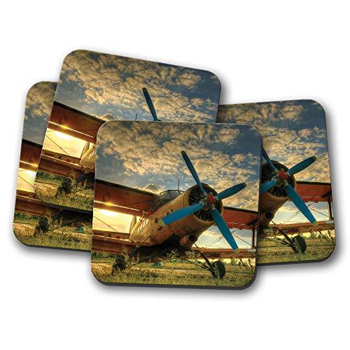 4 Set - Tiger Moth Plane Coaster - Sunset Pilot Flying Aeroplane Cool Gift #8846