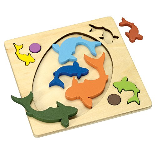 Bits and Pieces - Fish Pond Wooden Brainteaser Tray Puzzle - Brain Game Puzzle for Children and Adults