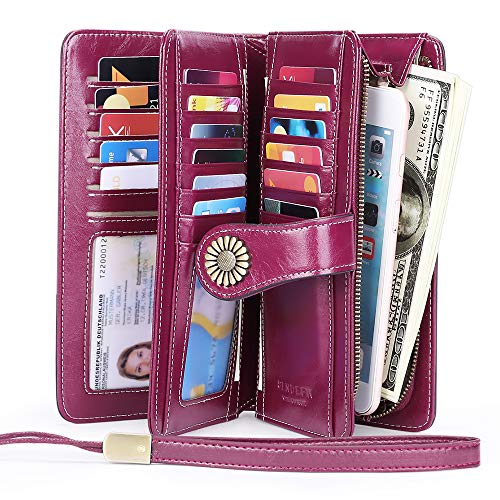 Elegant 24 Slots Womens RFID Wallets Large Capacity Leather Long Trifold Clutch Purse (SZS(2 id))