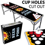 Beer Pong Table With Cup Holes – 8 Foot Easy Fold up w/ Adjustable Height – Professional Black + Yellow Design – Perfect for Tailgates, BP Parties, Flip Cup, & Pregames By Drinking Game Zone