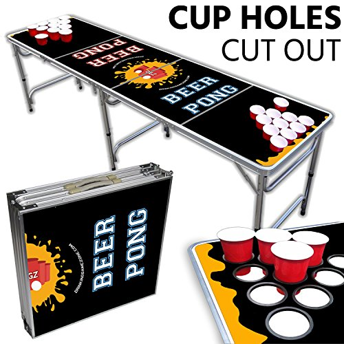 Drinking Game Zone Beer Pong Table With Cup Holes – 8 Foot Easy Fold up w/Adjustable Height – Professional Black + Yellow Design – Perfect for Tailgates, BP Parties, Flip Cup, Pregames By