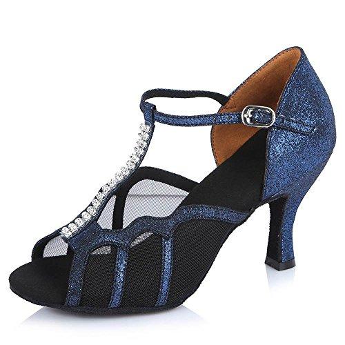 YFF Women's Girl 's Ladies Ballroom Latin Tango Party Dance Shoes Blue 65mm HtHPmvchoO