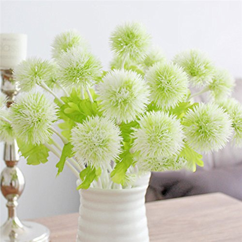 Ewer 10Pcs Artificial Dandelion Flowers, 13'' Multicolor Plastic Artificial Dandelion Ball for Home Garden Party Wedding Decor, Single Branch Fake Hydrangea - Ewer Floral