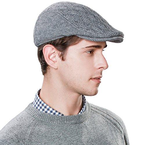 SIGGI Wool Newsboy Cap Mens Winter Hat Cold Weather Ivy Flat Cap Knit British Drivers Cap Gray - Hat Tweed Herringbone