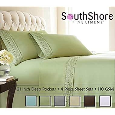Southshore Fine Linens® 4-piece 21 Inch Deep Pocket Sheet Set with Beautiful Lace - SAGE GREEN - King