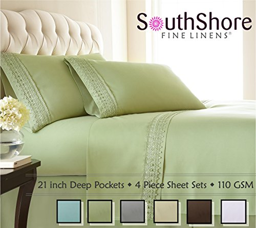 Southshore Fine Linens 4-Piece 21 Inch Deep Pocket Sheet Set with Beautiful Lace - SAGE Green - Queen