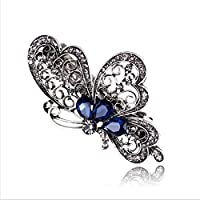 Blue Crystal Rhinestone Butterfly Hair Barrette Clip Hairpin Women Jewelry Gift LOVE STORY