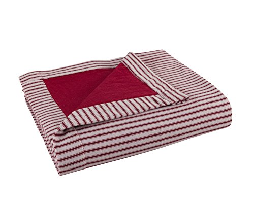 - FLANNEL Throw by DELANNA, Reversible 2-Ply thick Blanket 100% Cotton (60
