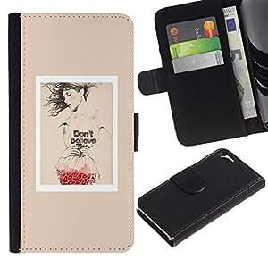 A-type (Poster Fashion Red Love Art Beige) Colorida Impresión Funda Cuero Monedero Caja Bolsa Cubierta Caja Piel Card Slots Para Apple iPhone 5 / iPhone 5S