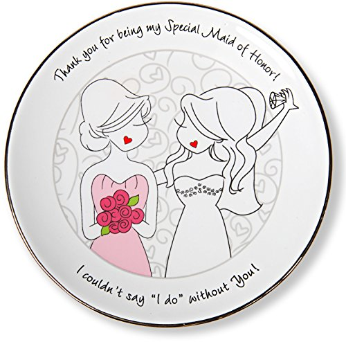 Pavilion Gift Company Philosophies Maid of Honor Gift Ceramic Jewelry Dish, 5""