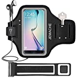 Galaxy S10/S9/S8 Armband, JEMACHE Gym Running/Jogging Workout Arm Band Case for Samsung Galaxy S7 Edge/S8/S9/S10 with Key/Card Holder Extender (Black)