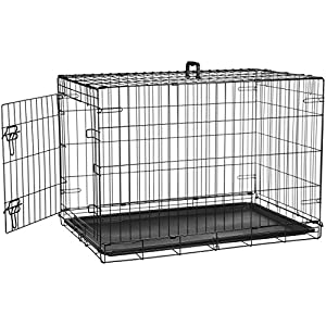 AmazonBasics Single Door Folding Metal Cage Crate For Dog or Puppy - 36 x 23 x 25 Inches 36