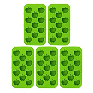 Riverbyland Apple Shape Plastic Ice Cube Trays Assorted Colors Set of 5