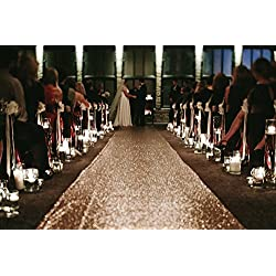 TRLYC Sequin Carpet Runner Sequin Wedding Aisle Runner, 24in by 15 ft, Rose Gold