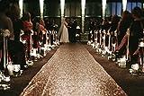 TRLYC Sequin Carpet Runner Sequin Wedding Aisle Runner, 24in by 15 ft, Rose Gold