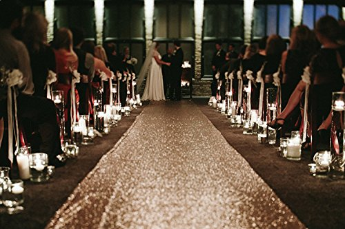 TRLYC Sequin Carpet Runner Sequin Wedding Aisle Runner, 24in by 15 ft, Rose Gold Carpet Rose