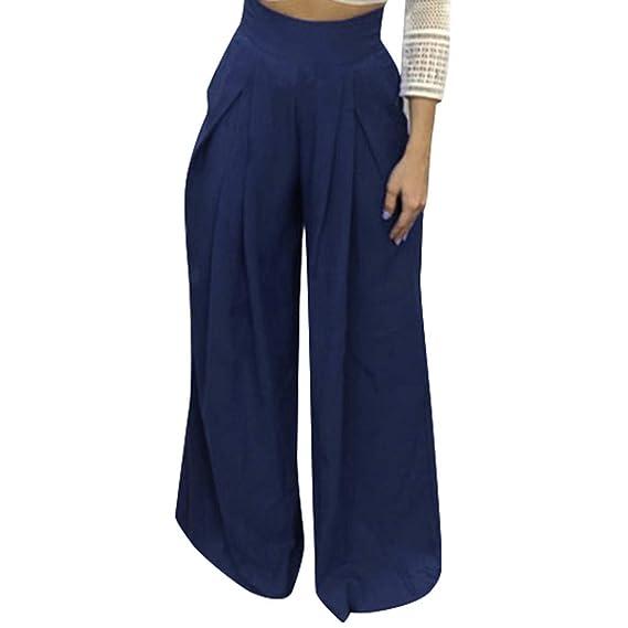 Luckycat Mujer Lino Pantalones Ancho Pierna Pantalones ...