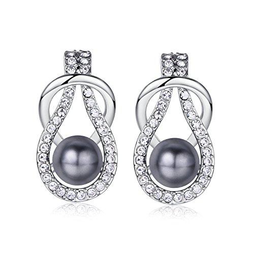 18k White Plated Swarovski Elements Pearl Stud Earrings for Women (Grey)