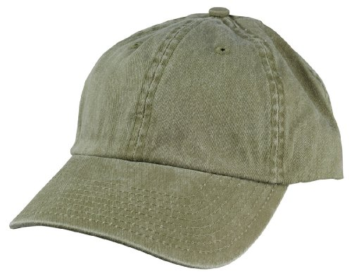 Mens Pigment Dyed Washed Cotton Cap - Adjustable Hat 6 Panel Unstructured (Heavy Washed Khaki)