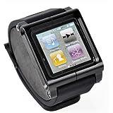 Adjustable length Sport Watch Band Wrist Strap Bracelet Case Cover Wristband for Apple iPod Nano 6 6g 6th Gen Generation - black